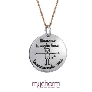 Collana da donna in argento 925 e ciondolo cuore con incisione mamma ti voglio bene tanto così, collezione mycharm, idee regalo mamma. Bellipario Gioielleria Palo del Colle, Bari e Provincia.