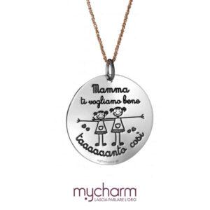 Collana da donna in argento 925 e ciondolo cuore con incisione mamma ti vogliamo bene tanto così, collezione mycharm, idee regalo mamma. Bellipario Gioielleria Palo del Colle, Bari e Provincia.